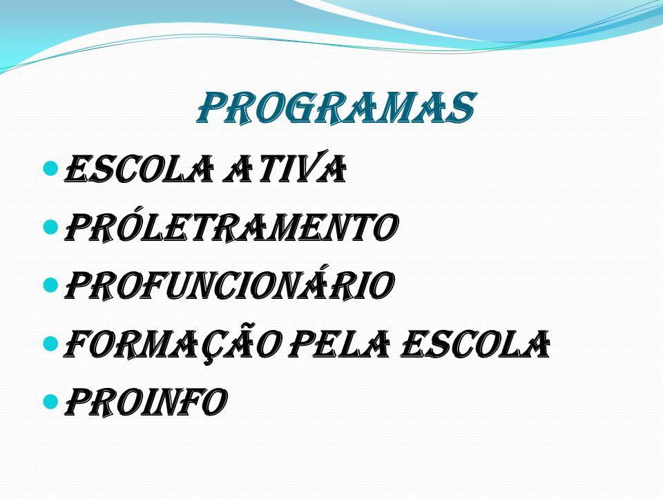 PROGRAMAS Escola ativa Próletramento Profuncionário Formação pela escola Proinfo