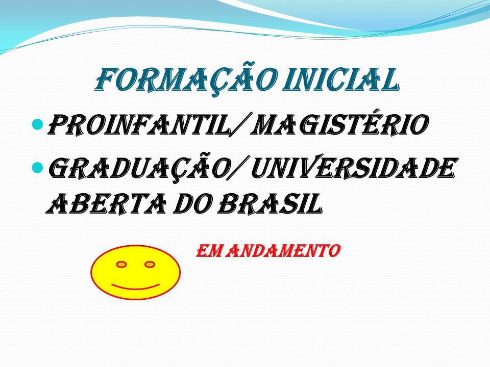FORMAÇÃO INICIAL Proinfantil/ magistério Graduação/ Universidade Aberta do Brasil EM ANDAMENTO