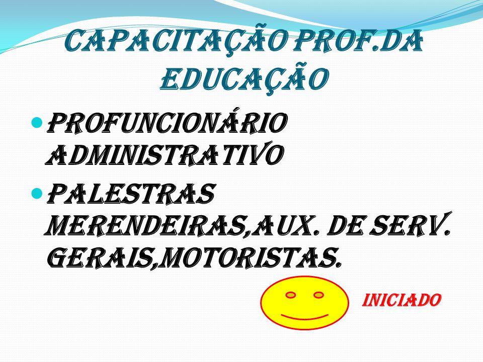 CAPACITAÇÃO PROF.DA EDUCAÇÃO Profuncionário Administrativo Palestras Merendeiras,Aux. De Serv. Gerais,Motoristas. INICIADO