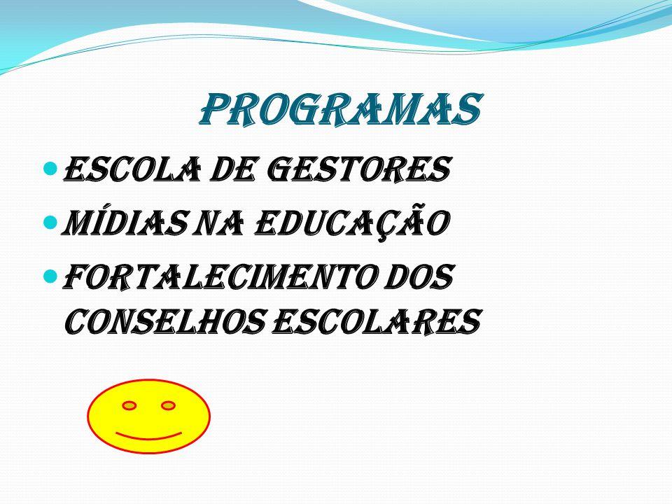 PROGRAMAS Escola de Gestores Mídias na educação Fortalecimento dos Conselhos Escolares