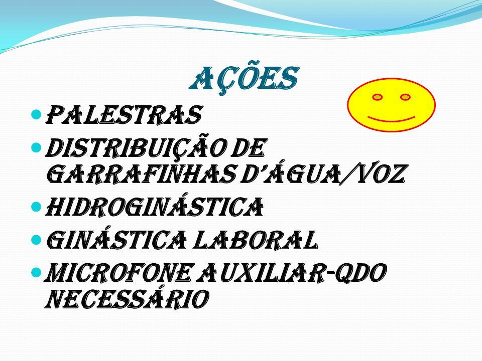 AÇÕES PalestRas Distribuição de garrafinhas dÁGUA/Voz Hidroginástica GINástica LABORAL Microfone auxiliar-qdo necessário
