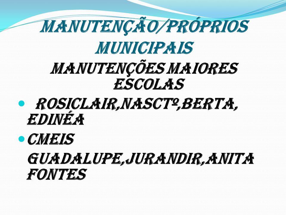 MANUTENÇÃO/PRÓPRIOS MUNICIPAIS MANUTENÇÕES MAIORES escolas Rosiclair,Nasctº,Berta, Edinéa Cmeis Guadalupe,Jurandir,Anita Fontes