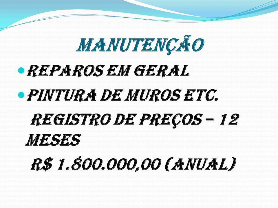 MANUTENÇÃO Reparos em geral Pintura de muros etc. Registro de preços – 12 meses R$ 1.800.000,00 (ANUAL)
