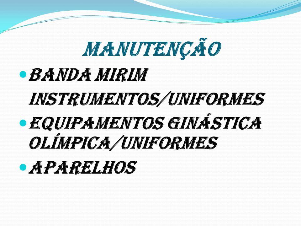 MANUTENÇÃO Banda Mirim Instrumentos/uniformes Equipamentos Ginástica Olímpica/uniformes aparelhos
