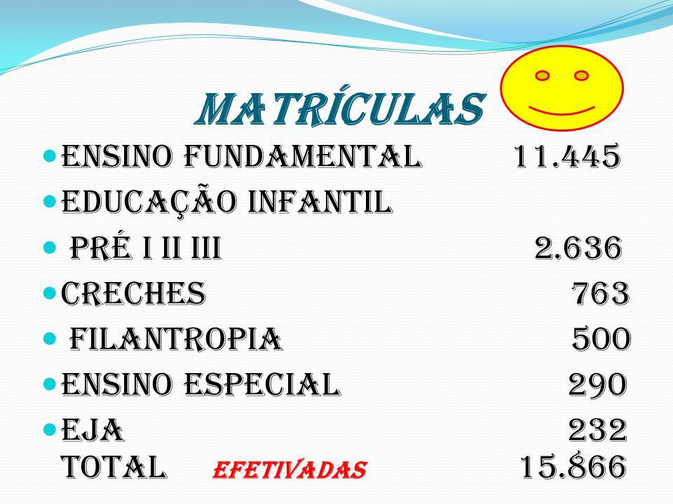 MATRÍCULAS Ensino Fundamental 11.445 Educação Infantil Pré I II III 2.636 Creches 763 Filantropia 500 Ensino Especial 290 Eja 232 Total EFETIVADAS 15.