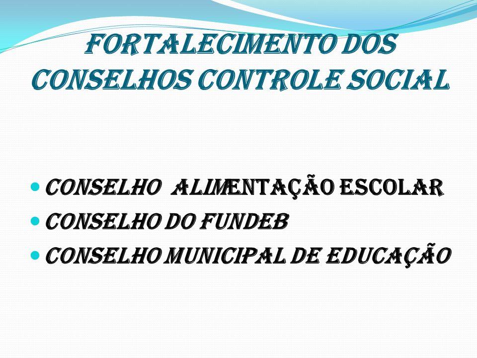FORTALECIMENTO DOS CONSELHOS CONTROLE SOCIAL CONSELHO ALIMENTAÇÃO ESCOLAR CONSELHO DO FUNDEB CONSELHO MUNICIPAL DE EDUCAÇÃO