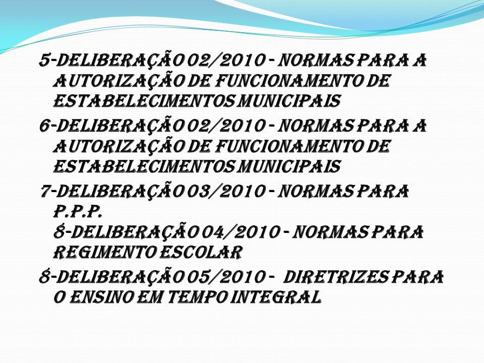 5-DELIBERAÇÃO 02/2010 - Normas para a Autorização de Funcionamento de Estabelecimentos Municipais 6-DELIBERAÇÃO 02/2010 - Normas para a Autorização de