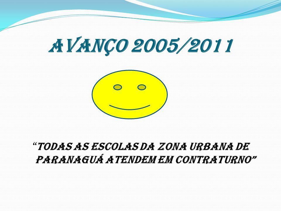 AVANÇO 2005/2011 TODAS AS ESCOLAS DA ZONA URBANA DE PARANAGUÁ ATENDEM EM CONTRATURNO