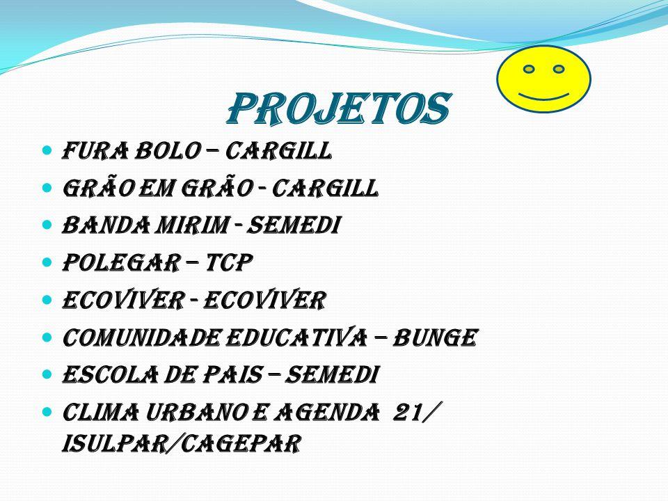 PROJETOS Fura Bolo – Cargill Grão em grão - Cargill Banda Mirim - SEMEDI Polegar – TCP Ecoviver - Ecoviver Comunidade Educativa – Bunge Escola de Pais