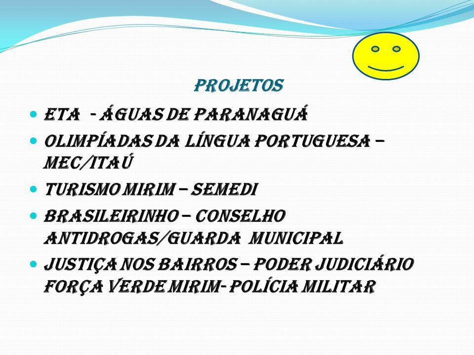 PROJETOS ETA - Águas de Paranaguá Olimpíadas da Língua Portuguesa – MEC/ITAÚ Turismo Mirim – SEMEDI Brasileirinho – Conselho Antidrogas/guarda municip
