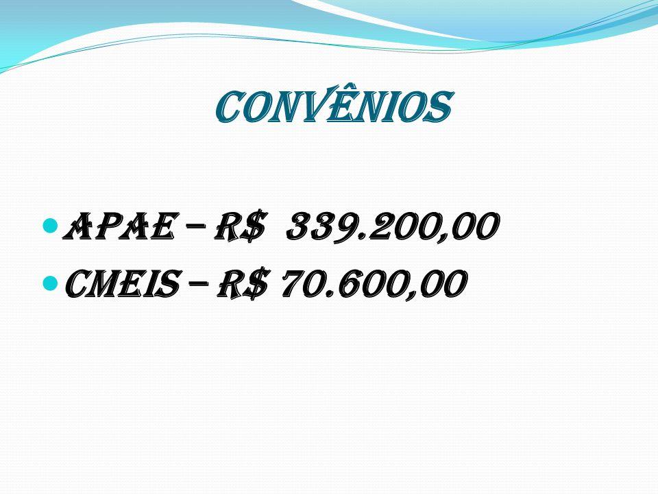 CONVÊNIOS APAE – R$ 339.200,00 CMEIS – R$ 70.600,00