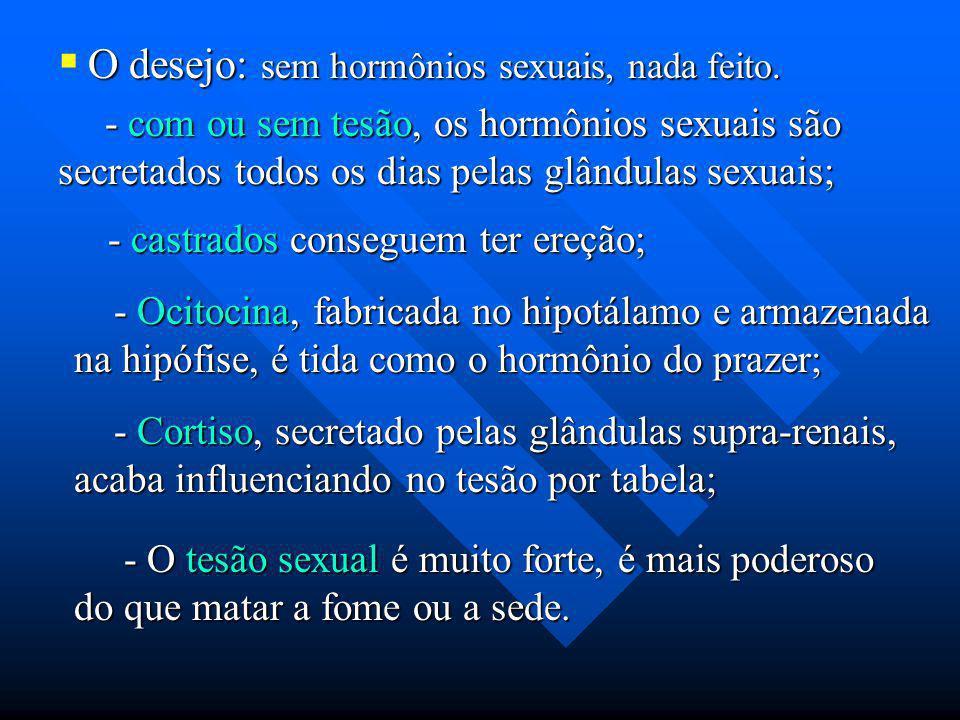 O desejo: sem hormônios sexuais, nada feito. - com ou sem tesão, os hormônios sexuais são secretados todos os dias pelas glândulas sexuais; - com ou s