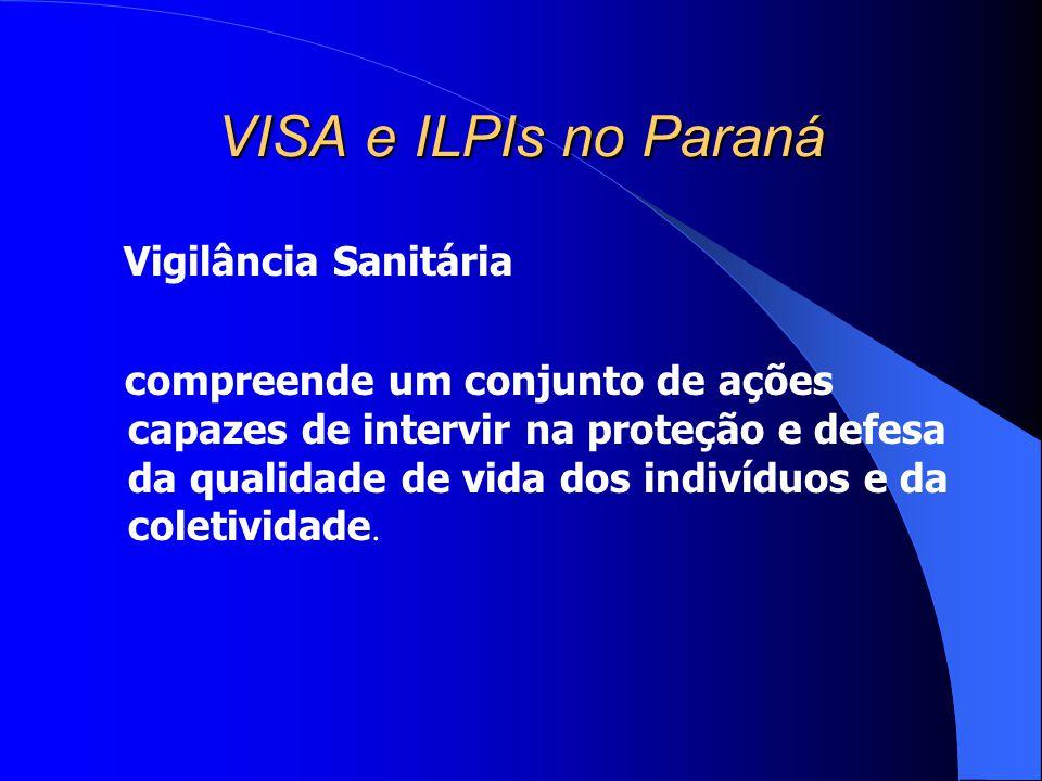 VISA e ILPIs no Paraná Vigilância Sanitária compreende um conjunto de ações capazes de intervir na proteção e defesa da qualidade de vida dos indivídu