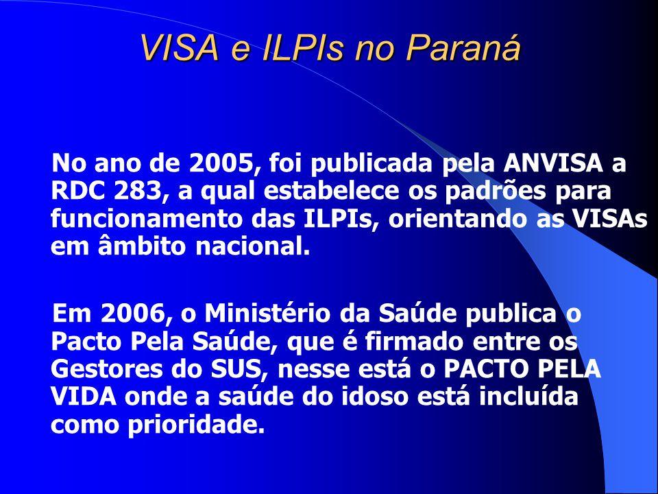 VISA e ILPIs no Paraná No ano de 2005, foi publicada pela ANVISA a RDC 283, a qual estabelece os padrões para funcionamento das ILPIs, orientando as V