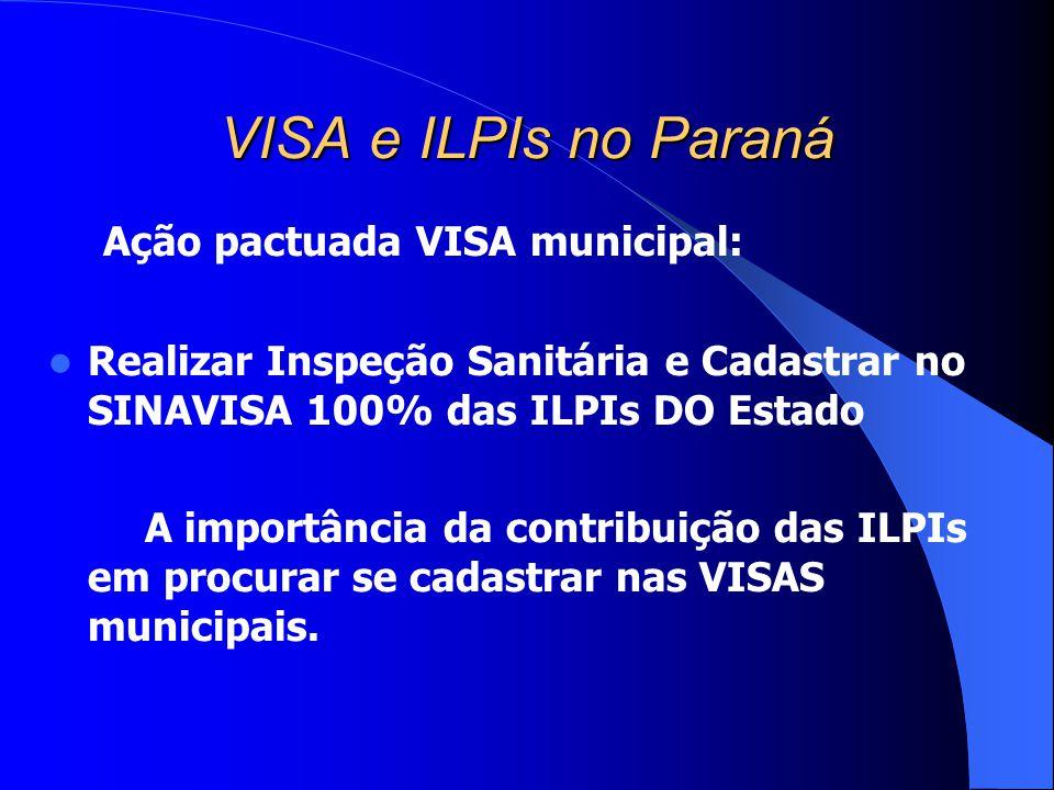 VISA e ILPIs no Paraná Ação pactuada VISA municipal: Realizar Inspeção Sanitária e Cadastrar no SINAVISA 100% das ILPIs DO Estado A importância da con