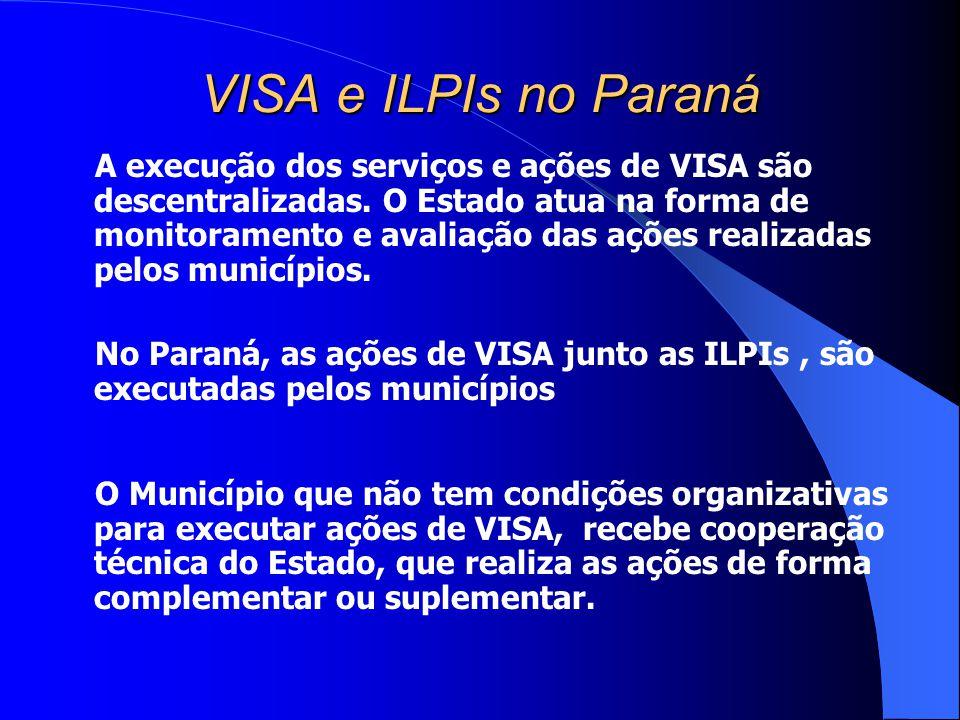 VISA e ILPIs no Paraná A execução dos serviços e ações de VISA são descentralizadas. O Estado atua na forma de monitoramento e avaliação das ações rea
