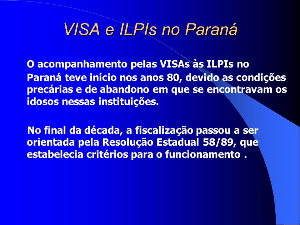 VISA e ILPIs no Paraná O acompanhamento pelas VISAs às ILPIs no Paraná teve início nos anos 80, devido as condições precárias e de abandono em que se