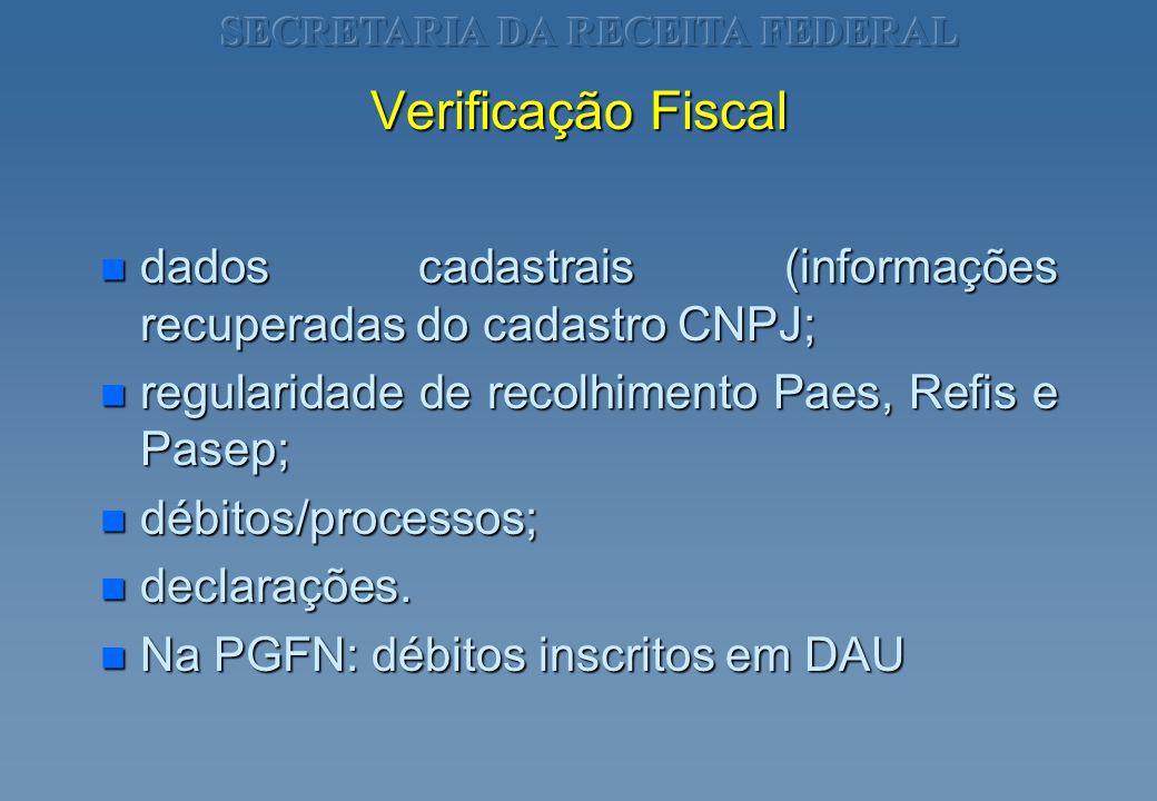 Verificação Fiscal n dados cadastrais (informações recuperadas do cadastro CNPJ; n regularidade de recolhimento Paes, Refis e Pasep; n débitos/process