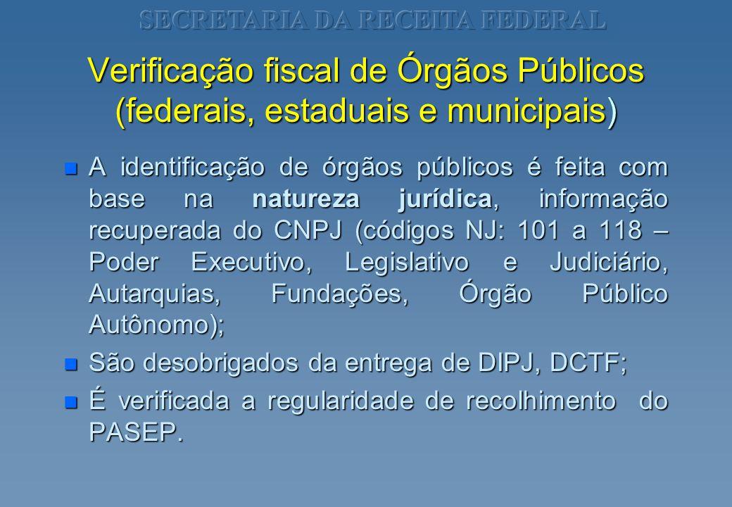 Verificação fiscal de Órgãos Públicos (federais, estaduais e municipais) n A identificação de órgãos públicos é feita com base na natureza jurídica, i