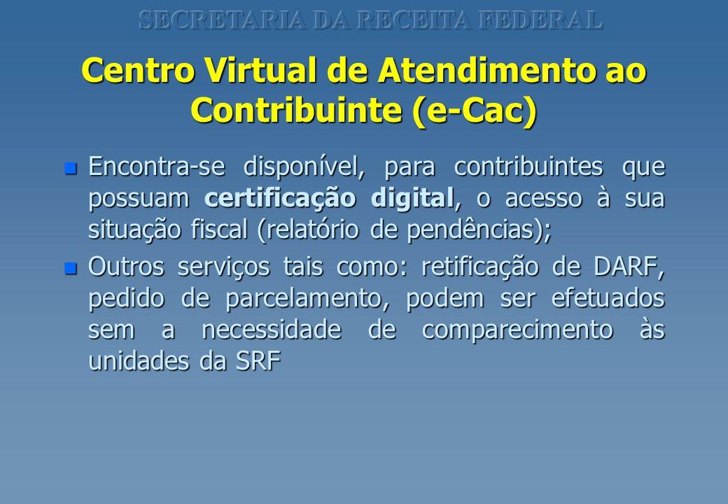 Centro Virtual de Atendimento ao Contribuinte (e-Cac) n Encontra-se disponível, para contribuintes que possuam certificação digital, o acesso à sua si