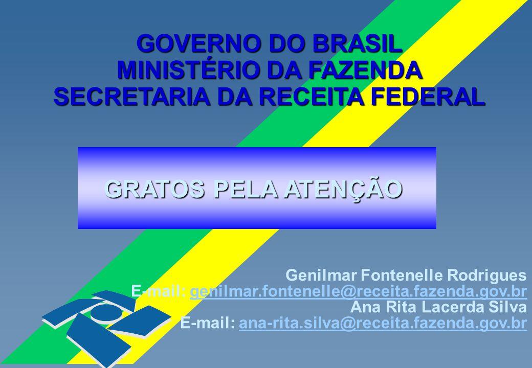 GRATOS PELA ATENÇÃO GOVERNO DO BRASIL MINISTÉRIO DA FAZENDA SECRETARIA DA RECEITA FEDERAL Genilmar Fontenelle Rodrigues E-mail: genilmar.fontenelle@re