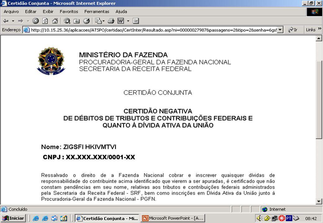 GRATOS PELA ATENÇÃO GOVERNO DO BRASIL MINISTÉRIO DA FAZENDA SECRETARIA DA RECEITA FEDERAL Genilmar Fontenelle Rodrigues E-mail: genilmar.fontenelle@receita.fazenda.gov.brgenilmar.fontenelle@receita.fazenda.gov.br Ana Rita Lacerda Silva E-mail: ana-rita.silva@receita.fazenda.gov.brana-rita.silva@receita.fazenda.gov.br
