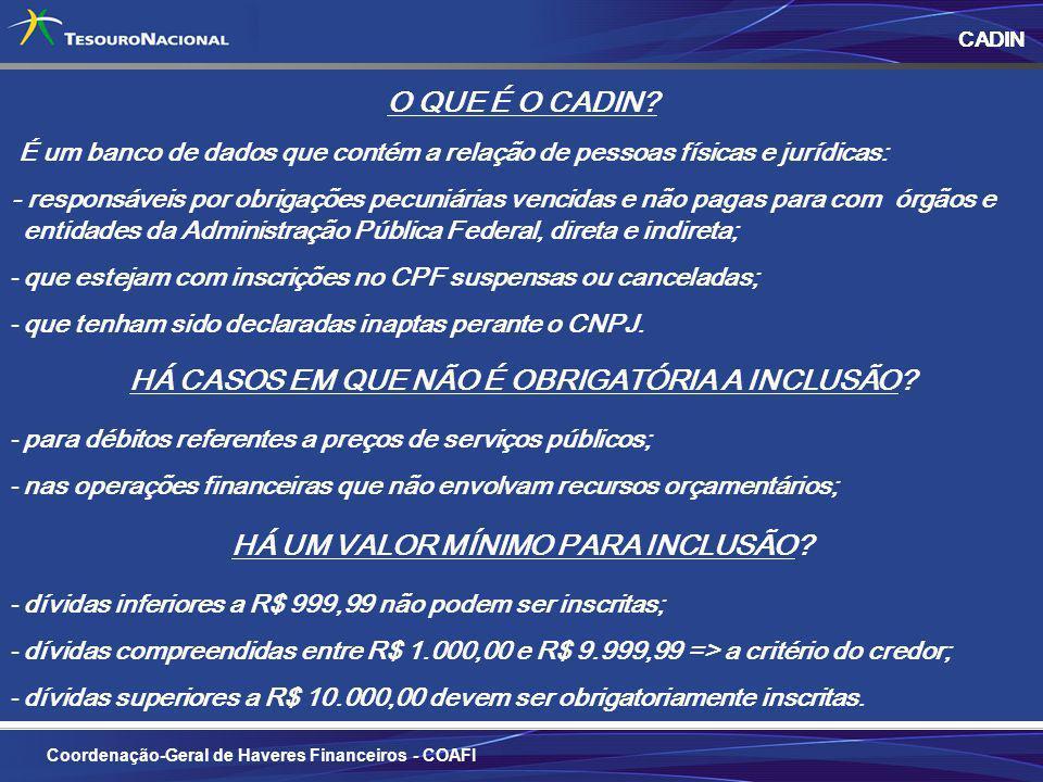 3 CADIN Coordenação-Geral de Haveres Financeiros - COAFI O QUE É O CADIN.