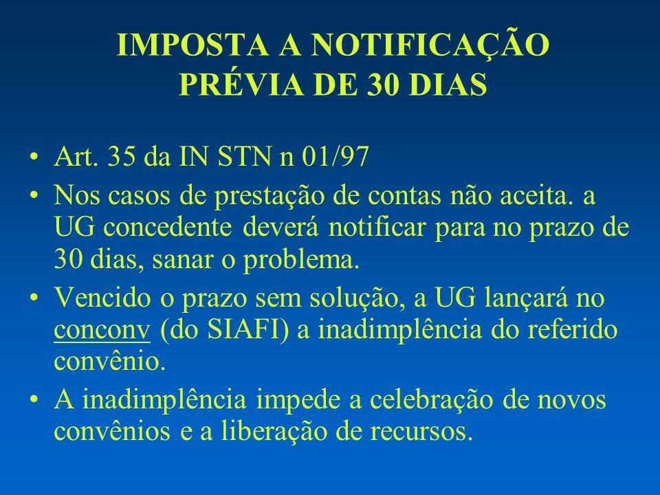 IMPOSTA A NOTIFICAÇÃO PRÉVIA DE 30 DIAS Art. 35 da IN STN n 01/97 Nos casos de prestação de contas não aceita. a UG concedente deverá notificar para n
