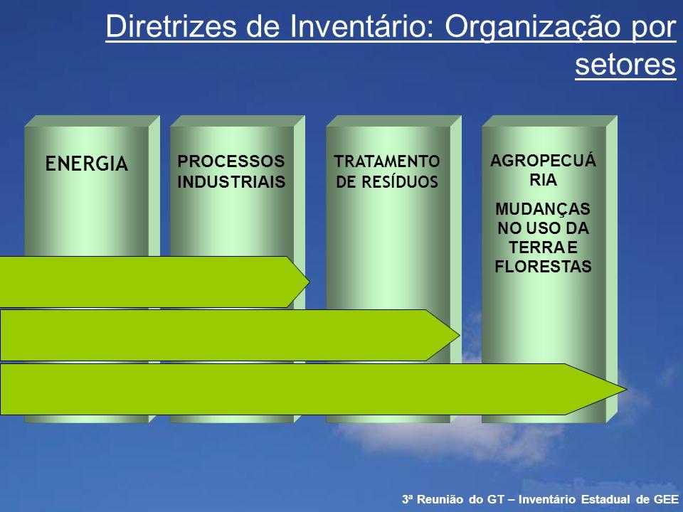 Grupos de Trabalho ENERGIA PROCESSOS INDUSTRIAIS TRATAMENTO DE RESÍDUOS AGROPECUÁRIA E MUDANÇAS NO USO DA TERRA E FLORESTAS