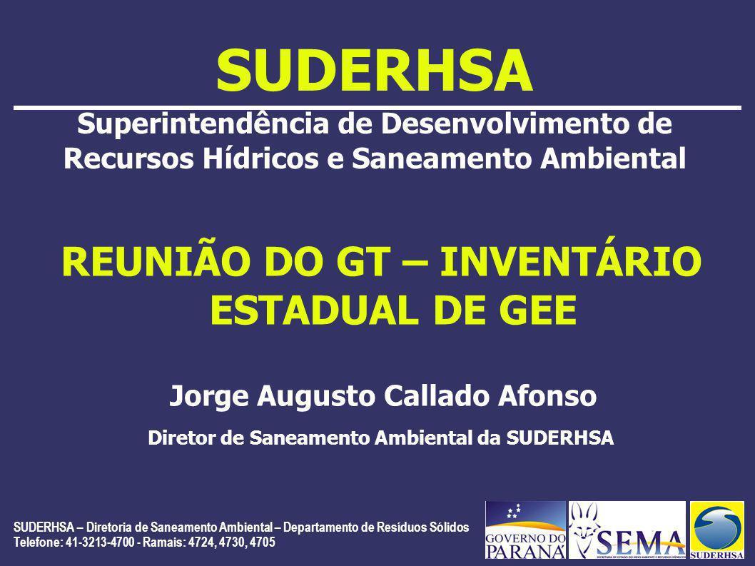 SUDERHSA – Diretoria de Saneamento Ambiental – Departamento de Resíduos Sólidos Telefone: 41-3213-4700 - Ramais: 4724, 4730, 4705 SUDERHSA Superintendência de Desenvolvimento de Recursos Hídricos e Saneamento Ambiental REUNIÃO DO GT – INVENTÁRIO ESTADUAL DE GEE Jorge Augusto Callado Afonso Diretor de Saneamento Ambiental da SUDERHSA