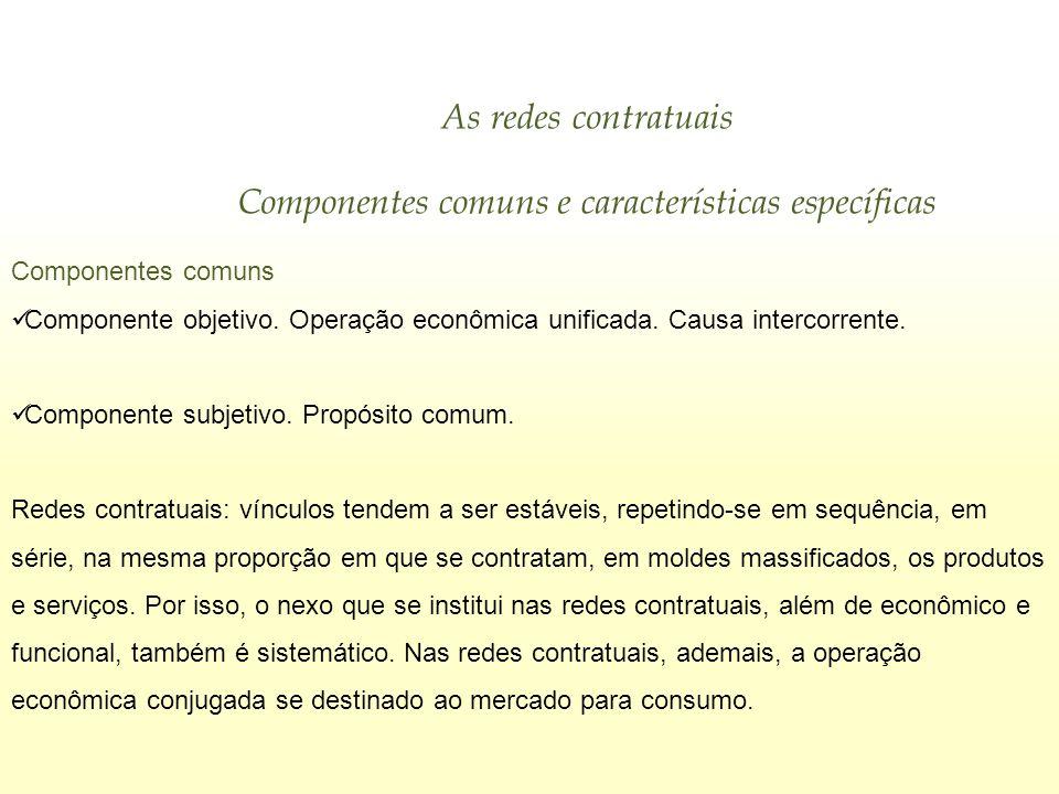 As redes contratuais Componentes comuns e características específicas Componentes comuns Componente objetivo. Operação econômica unificada. Causa inte