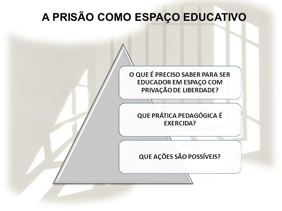 A PRISÃO COMO ESPAÇO EDUCATIVO O QUE É PRECISO SABER PARA SER EDUCADOR EM ESPAÇO COM PRIVAÇÃO DE LIBERDADE? QUE PRÁTICA PEDAGÓGICA É EXERCIDA? QUE AÇÕ