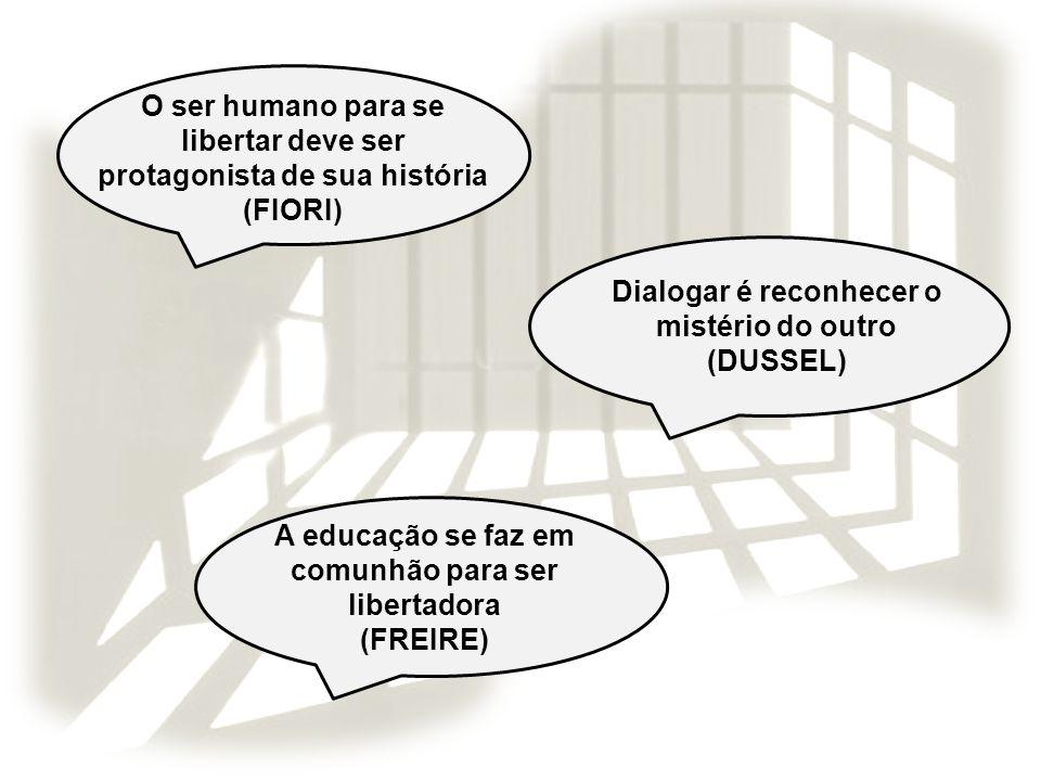 O ser humano para se libertar deve ser protagonista de sua história (FIORI) Dialogar é reconhecer o mistério do outro (DUSSEL) A educação se faz em co