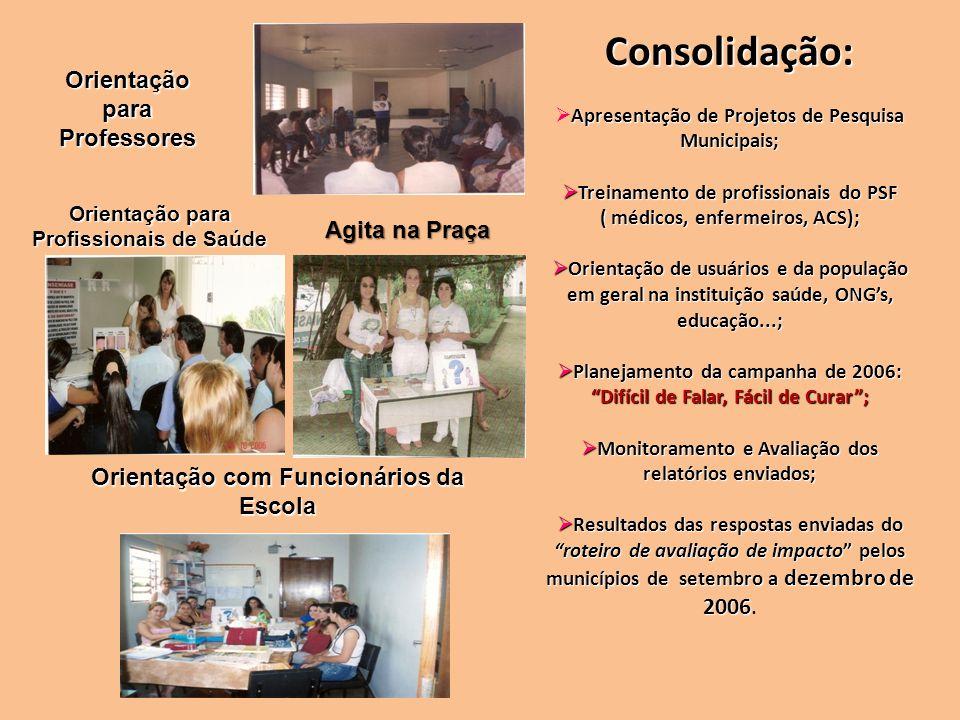 Consolidação: Apresentação de Projetos de Pesquisa Municipais; Treinamento de profissionais do PSF Treinamento de profissionais do PSF ( médicos, enfe