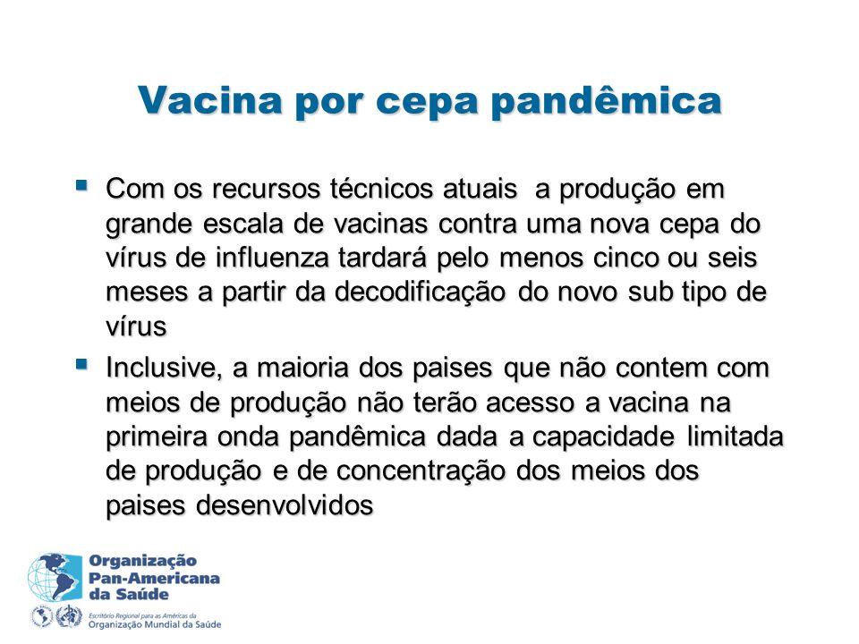 Vacina por cepa pandêmica Com os recursos técnicos atuais a produção em grande escala de vacinas contra uma nova cepa do vírus de influenza tardará pe