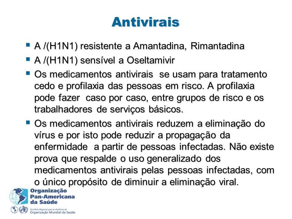 Antivirais A /(H1N1) resistente a Amantadina, Rimantadina A /(H1N1) resistente a Amantadina, Rimantadina A /(H1N1) sensível a Oseltamivir A /(H1N1) sensível a Oseltamivir Os medicamentos antivirais se usam para tratamento cedo e profilaxia das pessoas em risco.
