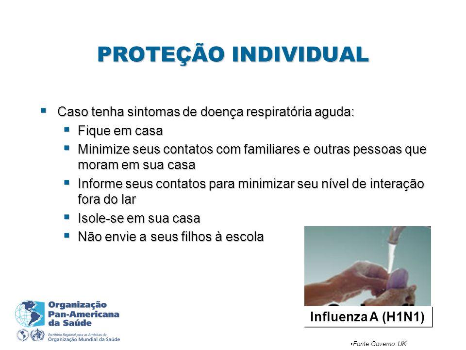 PROTEÇÃO INDIVIDUAL Caso tenha sintomas de doença respiratória aguda: Caso tenha sintomas de doença respiratória aguda: Fique em casa Fique em casa Mi