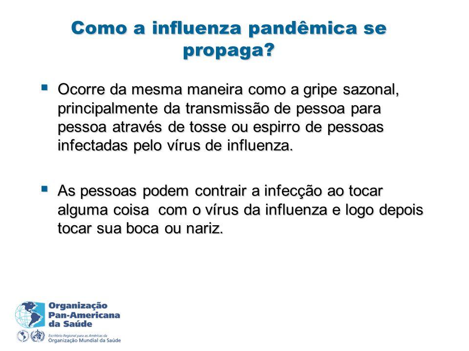 Como a influenza pandêmica se propaga? Ocorre da mesma maneira como a gripe sazonal, principalmente da transmissão de pessoa para pessoa através de to