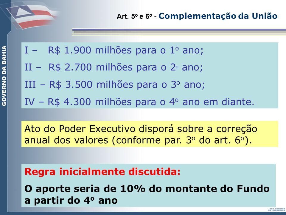 Art. 5 o e 6 o - Complementação da União I – R$ 1.900 milhões para o 1 o ano; II – R$ 2.700 milhões para o 2 o ano; III – R$ 3.500 milhões para o 3 o