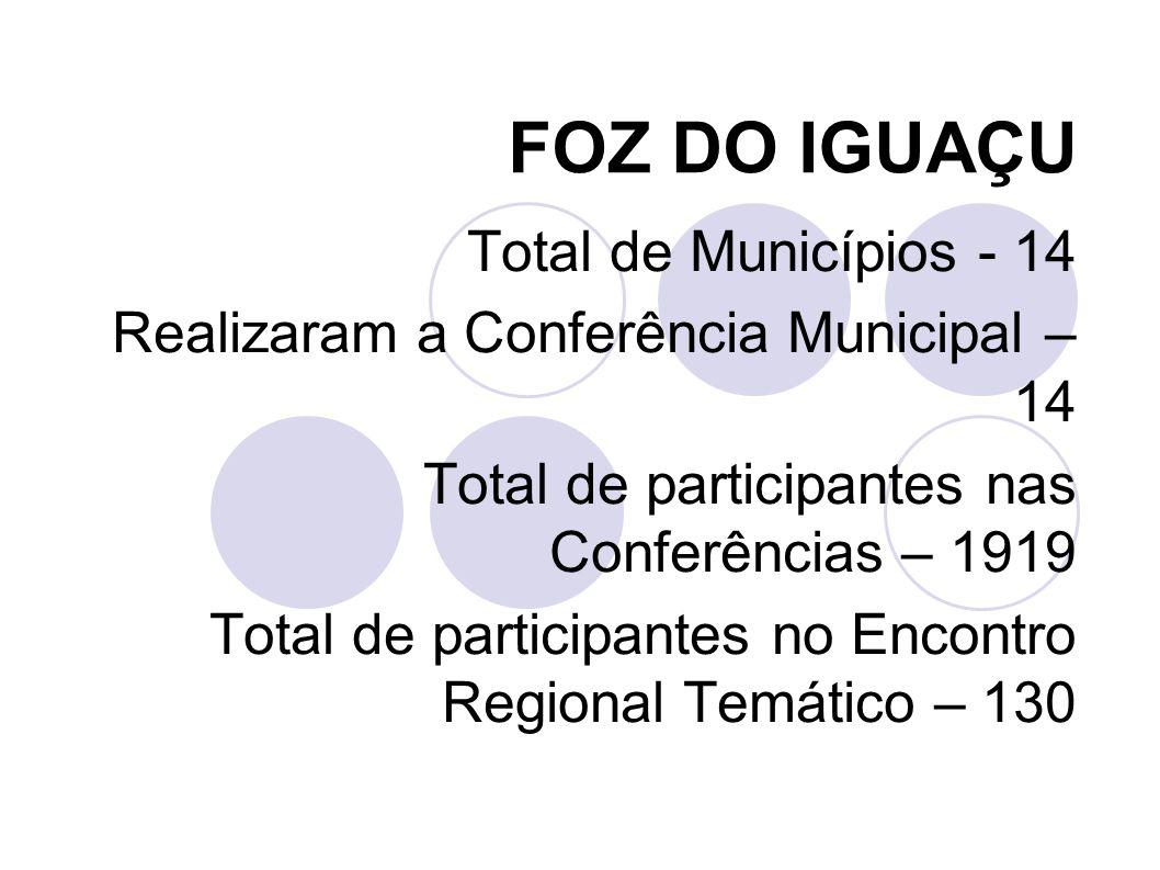 IRATI Total de Municípios - 9 Realizaram a Conferência Municipal – 9 Total de participantes nas Conferências – 708 Total de participantes no Encontro Regional Temático – 266