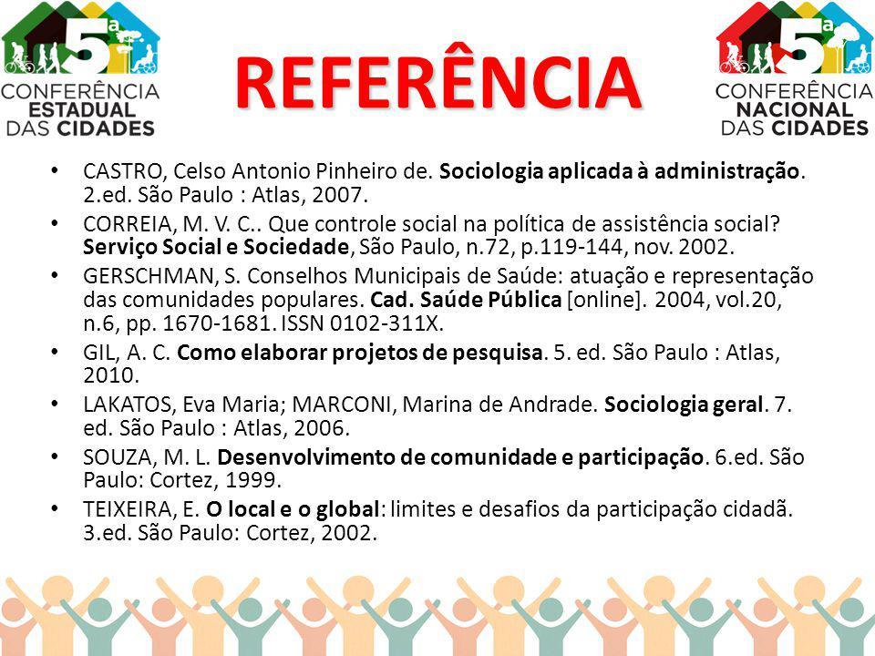 REFERÊNCIA CASTRO, Celso Antonio Pinheiro de. Sociologia aplicada à administração. 2.ed. São Paulo : Atlas, 2007. CORREIA, M. V. C.. Que controle soci