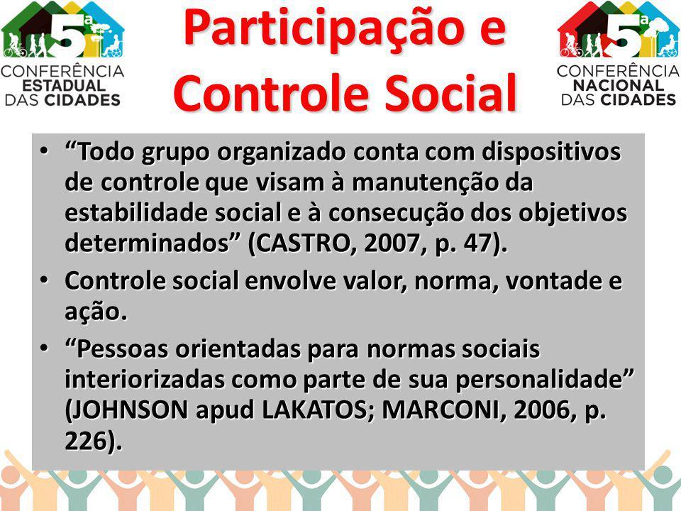 Participação e Controle Social Todo grupo organizado conta com dispositivos de controle que visam à manutenção da estabilidade social e à consecução d