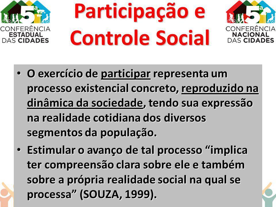 O exercício de participar representa um processo existencial concreto, reproduzido na dinâmica da sociedade, tendo sua expressão na realidade cotidian