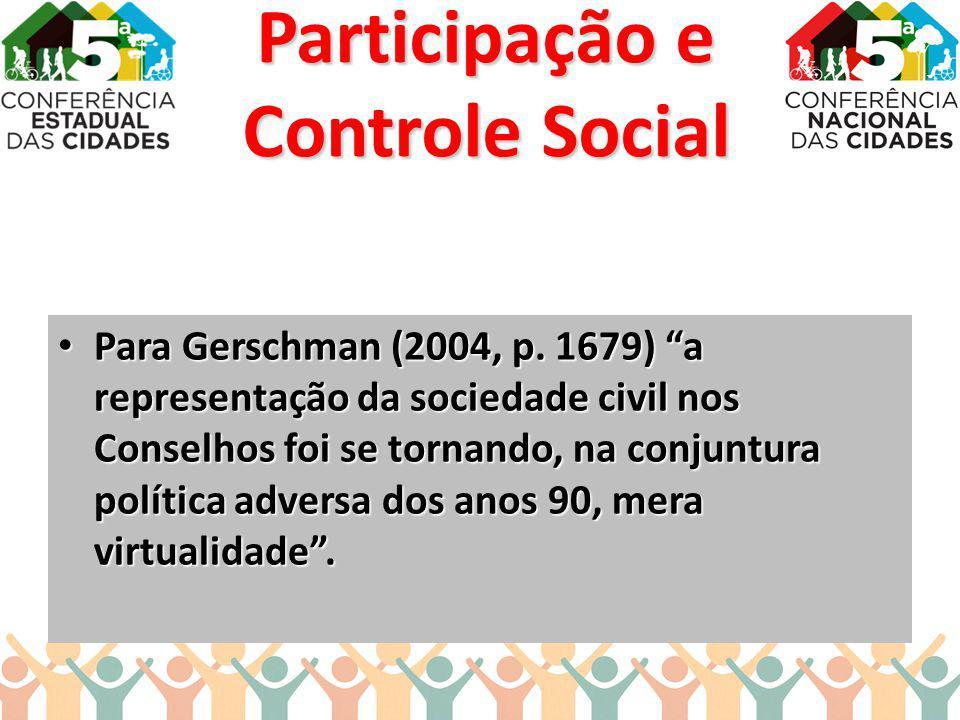 Para Gerschman (2004, p. 1679) a representação da sociedade civil nos Conselhos foi se tornando, na conjuntura política adversa dos anos 90, mera virt