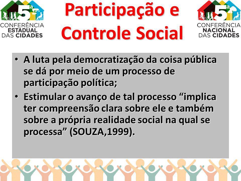A luta pela democratização da coisa pública se dá por meio de um processo de participação política; A luta pela democratização da coisa pública se dá