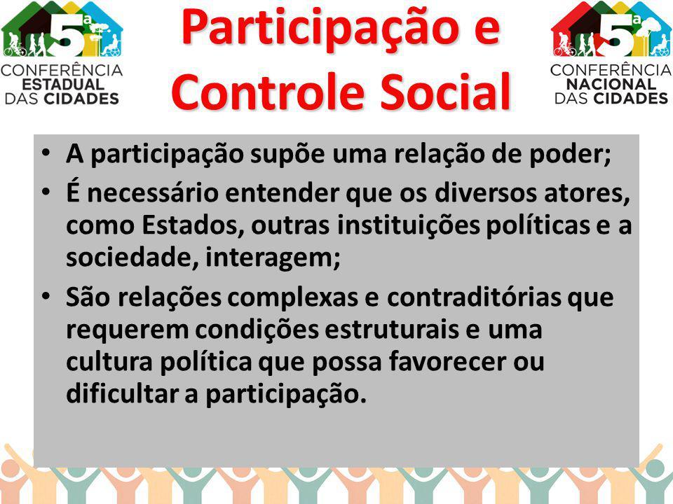 A participação supõe uma relação de poder; É necessário entender que os diversos atores, como Estados, outras instituições políticas e a sociedade, in