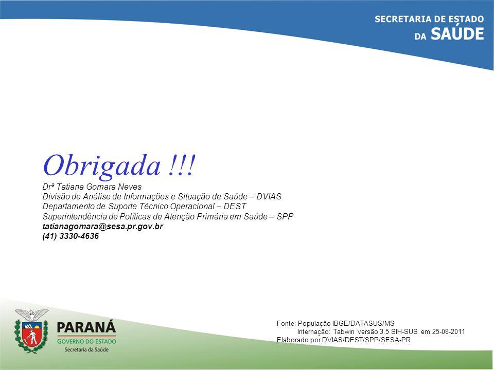 Fonte: População IBGE/DATASUS/MS Internação: Tabwin versão 3.5 SIH-SUS em 25-08-2011 Elaborado por DVIAS/DEST/SPP/SESA-PR Obrigada !!! Drª Tatiana Gom