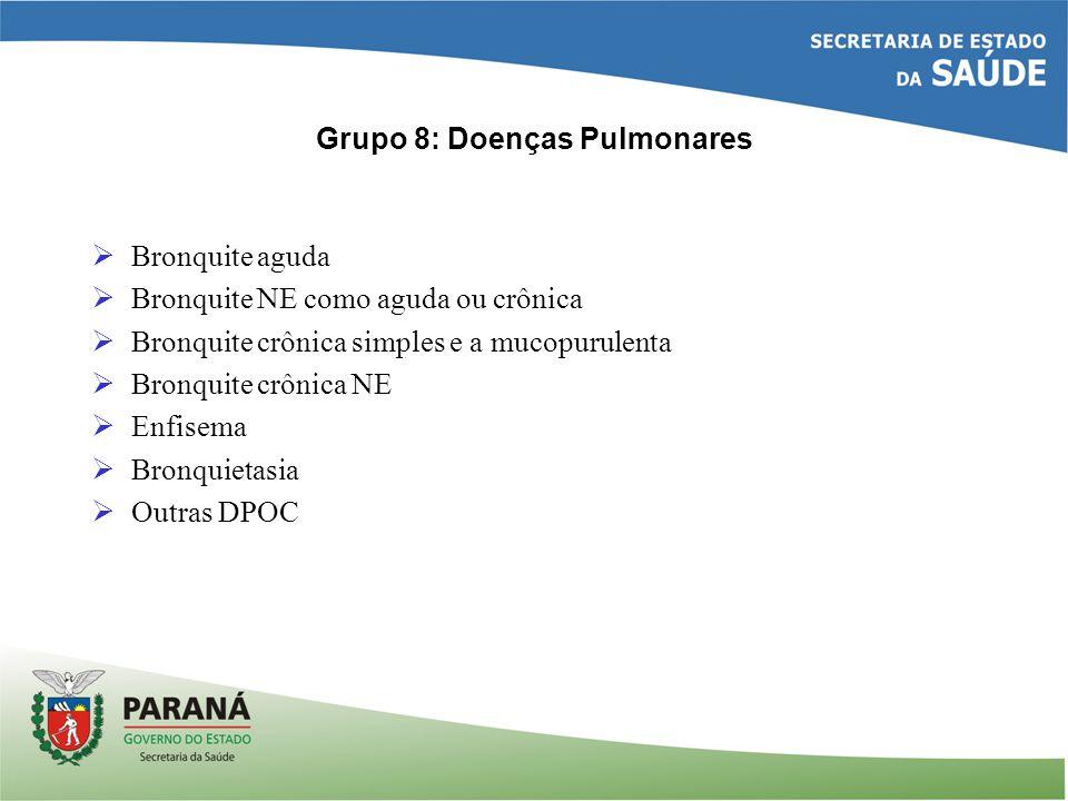 Grupo 8: Doenças Pulmonares Bronquite aguda Bronquite NE como aguda ou crônica Bronquite crônica simples e a mucopurulenta Bronquite crônica NE Enfise