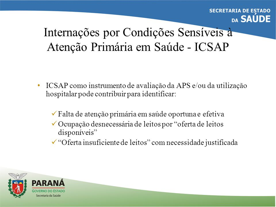 Internações por Condições Sensíveis à Atenção Primária em Saúde - ICSAP ICSAP como instrumento de avaliação da APS e/ou da utilização hospitalar pode