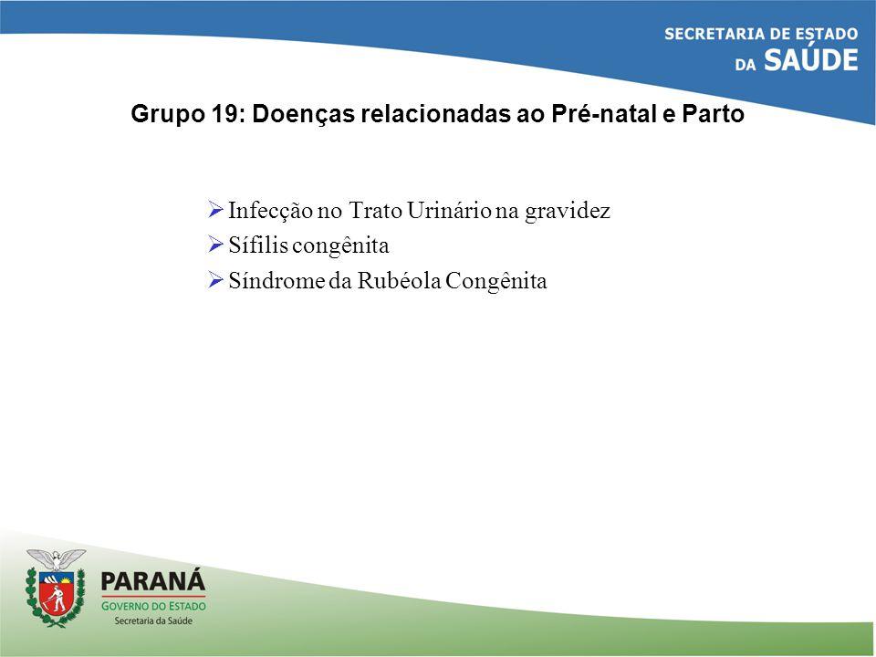 Grupo 19: Doenças relacionadas ao Pré-natal e Parto Infecção no Trato Urinário na gravidez Sífilis congênita Síndrome da Rubéola Congênita